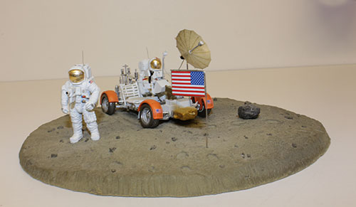 Complete built set includes, Lunar Rover, Astronauts & Moon style base. All components can be purchased separately except the moon base.